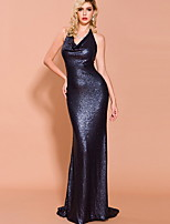 cheap -Sheath / Column Sexy bodycon Prom Formal Evening Dress V Neck Sleeveless Sweep / Brush Train Sequined with Sequin 2020