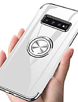 """cheap -designed for samsung galaxy s10 plus / s10+ case 6.4"""" rotating ring holder crystal clear back shock-absorption slim fit electroplated frame soft tpu cover phone case - silver"""