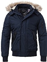 cheap -men's casual warm arctic cloth anorak coat with removable faux fur-trimmed hood for winter fall,navy blue,us size l (tag size 2xl)