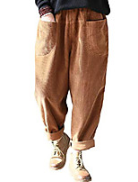 cheap -women's solid corduroy casual harem pants trouser with front pockets (m, corduroy-brown)