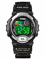cheap -kids digital waterproof watch, girls sport outdoor colorful luminous boys wristwatches with alarm stopwatch - black