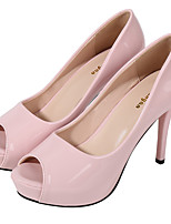 cheap -Women's Heels Stiletto Heel Pointed Toe Casual Daily Walking Shoes Patent Leather Solid Colored Black Pink