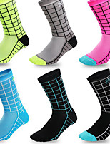 cheap -Socks Men's Women's Bike / Cycling Soft Stretchy Sweat-wicking 1 Pair Grid / Plaid Nylon Fuchsia Blue Grey One-Size / Athleisure