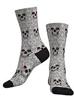 cheap -Crew Socks Compression Socks Calf Socks Athletic Sports Socks Cycling Socks Men's Women's Bike / Cycling Lightweight Breathable Anatomic Design 1 Pair Graphic Skull Cotton Grey S M L / Stretchy