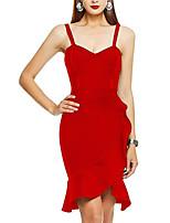 cheap -Sheath / Column Hot Sexy Party Wear Cocktail Party Dress Spaghetti Strap Sleeveless Short / Mini Spandex with Ruffles 2020
