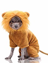 "cheap -halloween dog lion costume with hat funny cat clothes with tail warm pet suit four-legged hoodies for small medium dogs (xl (back length 45cm/17.71""))"