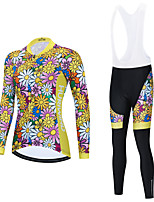 cheap -Women's Long Sleeve Cycling Jersey with Bib Tights Cycling Jersey with Tights Cycling Jersey Winter Blue+Yellow Black Black / White Floral Botanical Bike Breathable Quick Dry Sports Graphic Mountain
