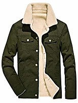 cheap -mens autumn winter casual fashion pure color plus velvet jacket button outwear coat tops army green