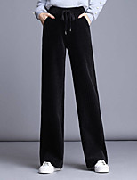 cheap -Women's Basic Streetwear Comfort Daily Going out Pants Chinos Pants Solid Colored Full Length Pocket Drawstring Black Camel Gray
