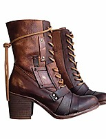 cheap -women's retro comfy chunky-heel lace-up boots