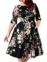 cheap -plus size party dress for woman, vintage floral print black cocktail evening dresses 8xl