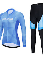 cheap -Women's Long Sleeve Cycling Jersey with Bib Tights Cycling Jersey with Tights Cycling Jersey Winter Black Blue Black / White Bike Breathable Quick Dry Sports Geometic Mountain Bike MTB Road Bike