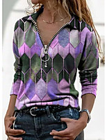 cheap -Women's Christmas Blouse Shirt Tie Dye Long Sleeve Print V Neck Tops Christmas Basic Top Blue Purple Yellow