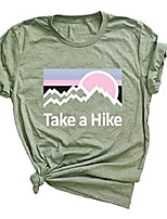 cheap -women take a hike letter t-shirt women's cute graphic casual short sleeve tee top (m, 2-blue)