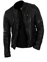 cheap -men's motorcycle fashion real leather jacket cow black small