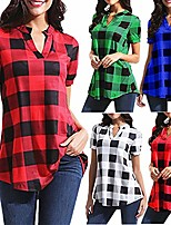 cheap -women's plaid printed shirt casual v-neck long sleeve top plus size s-5xl