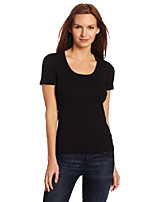 cheap -women's short sleeve scoop neck top, charcoal, small
