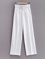 cheap -Women's Sporty Basic Comfort Daily Going out Wide Leg Pants Pants Solid Colored Full Length Pocket Drawstring White Black Purple