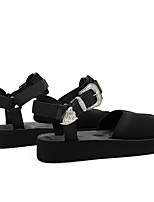 cheap -Women's Sandals Platform Round Toe Casual Daily Walking Shoes PU Black Khaki