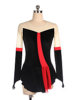 cheap -Figure Skating Dress Women's Girls' Ice Skating Dress Black Spandex High Elasticity Training Competition Skating Wear Patchwork Long Sleeve Ice Skating Figure Skating / Kids