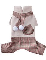 cheap -Dog Cat Coat Jumpsuit Plaid British Casual / Daily Winter Dog Clothes Puppy Clothes Dog Outfits Breathable Blue Pink Costume for Girl and Boy Dog Fleece XS S M L XL