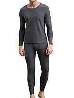 cheap -men's cotton thermal underwear set heavyweight long johns fleece lined (dark grey, xl)