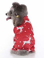 cheap -christmas small dog pajamas female dog clothes for small medium dogs 4-legged cartoon pattern costume dogs warm clothing for cold weather warm puppy jumpsuit for small dog