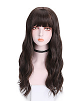cheap -Synthetic Wig Curly With Bangs Wig Long Brown Pink Natural Black Synthetic Hair 20 inch Women's Cool Comfy Fluffy Pink Brown