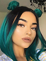 cheap -Women's Wig Fashion Dark Green Bobo Short Straight Hair Inner Buckle Wave Head Short Hair Dyed Chemical Fiber Hair