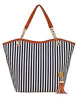 cheap -women shoulder bag, women girls fashion canvas stripe tassels chain canvas shopping handbag shoulder tote shop bag (blue)