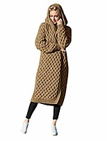 cheap -oversized loose fit long knitted sweater coat warm winter open front hooded cardigans brown