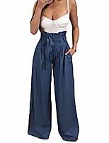 cheap -women's high waist pure wide leg pants belted with pockets-blue-m