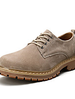 cheap -Men's Oxfords Daily Walking Shoes Pigskin Wear Proof Camel Brown Spring Fall