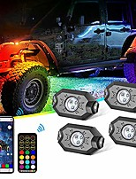 cheap -beatto 4 pods rgb led rock light kits with brake and turn function and can controlled by remote and app simultaneously