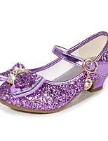cheap -Girls' Heels Moccasin Flower Girl Shoes Princess Shoes Rubber PU Little Kids(4-7ys) Big Kids(7years +) Daily Party & Evening Walking Shoes Rhinestone Buckle Sequin Black Purple Red Spring Fall