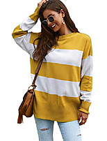 cheap -women's long sleeve crewneck striped knit pullover sweater casual loose tops yellow