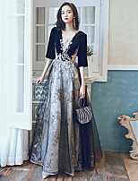 cheap -A-Line Glittering Cut Out Party Wear Formal Evening Dress Illusion Neck Half Sleeve Floor Length Velvet with Sequin Appliques 2020