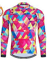 cheap -WECYCLE Men's Women's Long Sleeve Cycling Jersey Winter Fleece Polyester Pink Geometic Bike Jersey Top Mountain Bike MTB Road Bike Cycling Fleece Lining Breathable Warm Sports Clothing Apparel