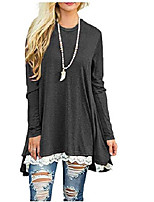 cheap -women top lace hem round neck pullover casual wear loose long sleeve t shirt grey small