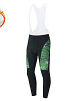 cheap -WECYCLE Men's Women's Cycling Tights Cycling Bib Tights Winter Fleece Polyester Bike Tights Bib Tights Padded Shorts / Chamois Fleece Lining Breathable 3D Pad Sports Gear Green / Black / White / Warm