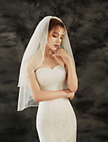 cheap -Two-tier Lace Wedding Veil Elbow Veils with Solid 25.59 in (65cm) Tulle