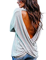 cheap -women's sexy backless loose shirt long sleeve open back cross tee top blouse (gray, xl)