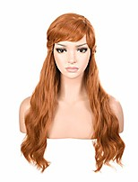 cheap -morvally womens light brown long wavy prestyled wig with bang for princess cosplay costume halloween party