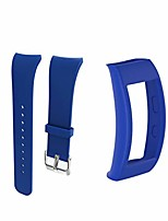 cheap -watch band with bumper decorative creative watch case plastic watch band compatible for samsung gear fit2 pro 1 set (dark blue)