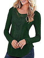 cheap -womens tops lace short sleeve cotton t shirt casual hollow out long sleeve tees for women green