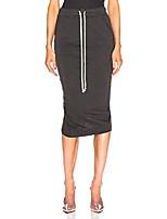 cheap -women stretchable midi-skirt above the knee drawstring with pockets wrap hem 2xl