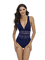 cheap -Women's One Piece Swimsuit Solid Colored Padded Bodysuit Swimwear Black / Black Dark Navy Removable Cups Sleeveless - Swimming Autumn / Fall Spring / Nylon / High Elasticity