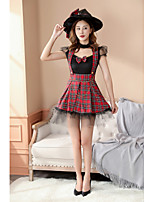 cheap -Santa Suit Costume Adults' Women's Christmas Christmas Festival Christmas Halloween Festival / Holiday Polyester Velour Red+Black Women's Easy Carnival Costumes Plaid / Check / Dress / Headwear