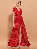 cheap -Sheath / Column Minimalist Boho Holiday Prom Dress V Neck Short Sleeve Floor Length Spandex with Sash / Ribbon Split 2020