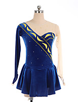 cheap -Figure Skating Dress Women's Girls' Ice Skating Dress Dark Navy Spandex High Elasticity Training Competition Skating Wear Crystal / Rhinestone Long Sleeve Ice Skating Figure Skating / Kids